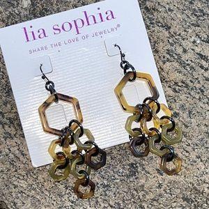 Lia Sophia Tortoise Acrylic Dangle Earrings NEW
